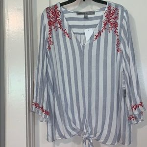 Absolutely famous Large tie front blouse